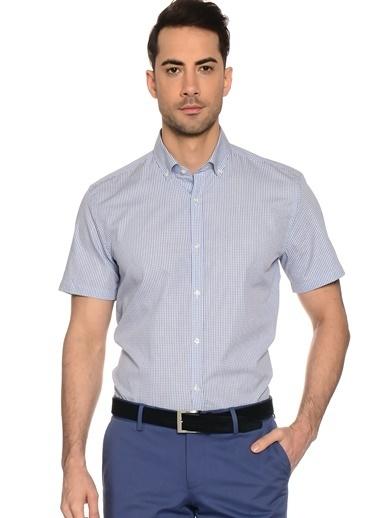 Cotton Bar Kısa Kollu Çizgili Gömlek Mavi